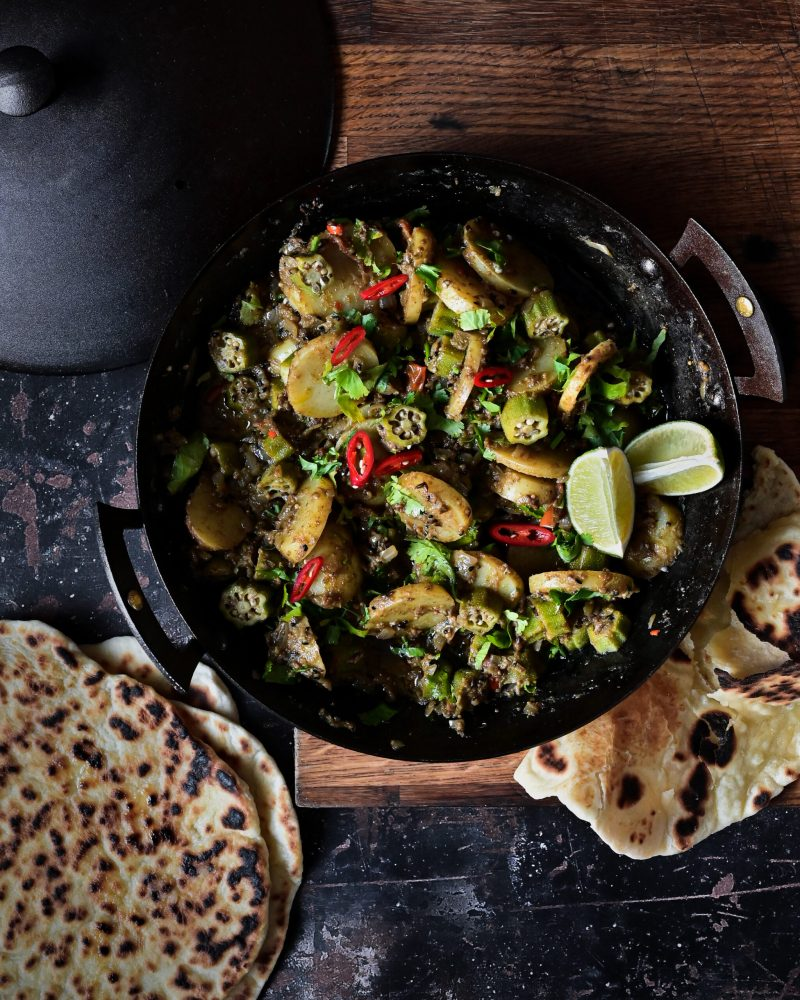 Bhinda Bateta Nu Shak Gujarati Potato and Okra Fry Curry