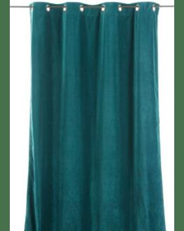 rideau en velours epais de couleur bleu canard