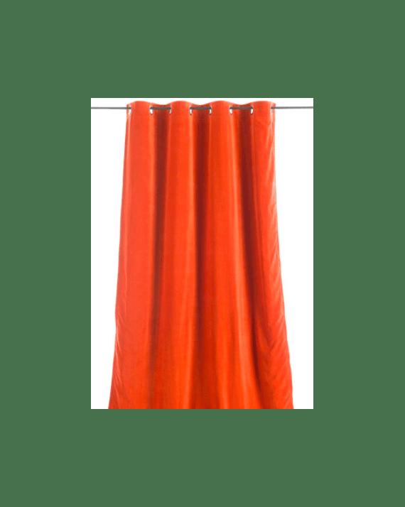 rideau en velours epais de couleur orange