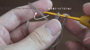 埼玉県所沢市の編み物教室poponnnerが教える動画レッスンの様子。コイル編みのモチーフを編んでいる様子の画像。