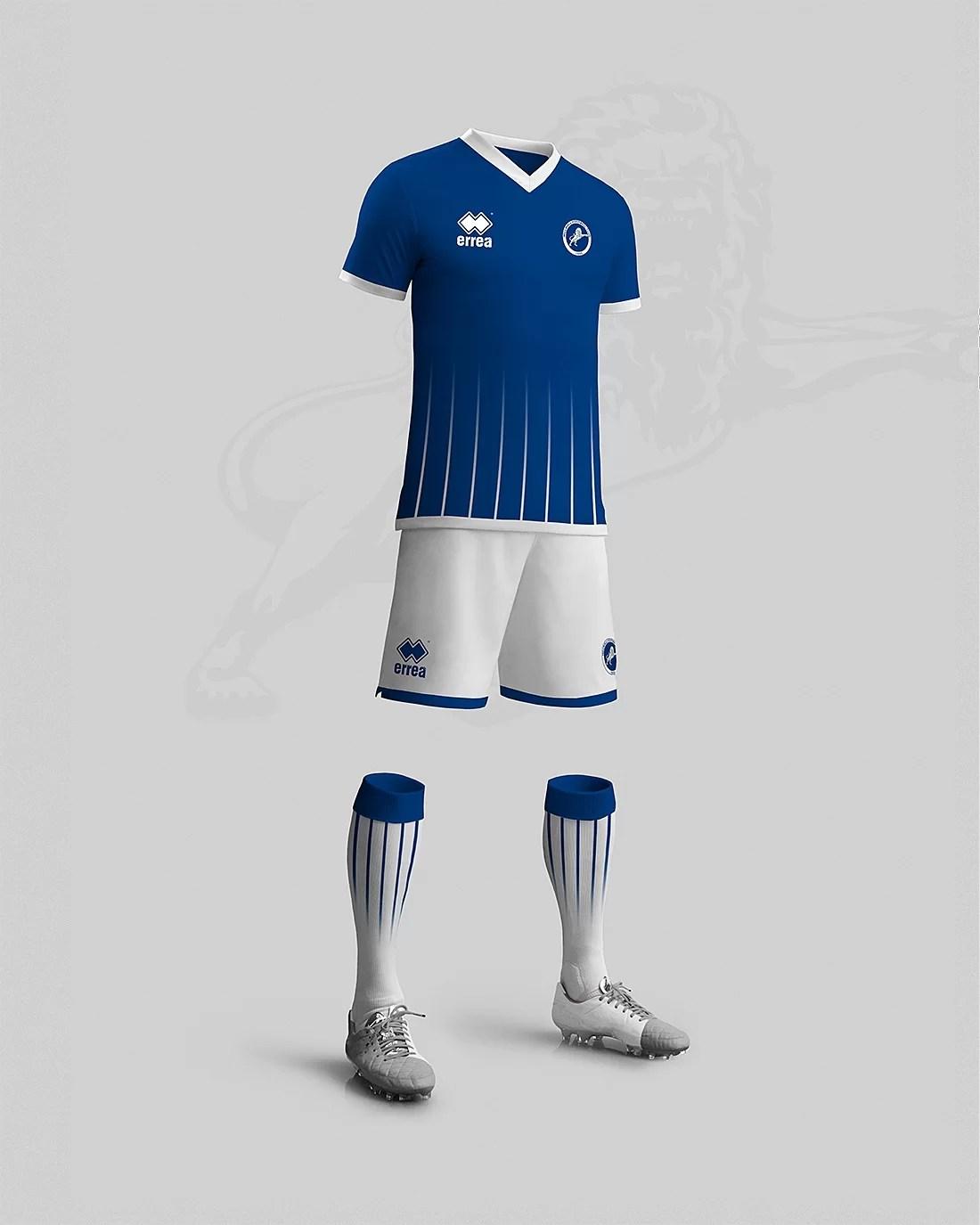 Stroje piłkarskie projekt Millwall home kit design