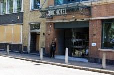 Outside a hotel near Whitechapel Road. © Violet Acevedo