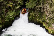 First raft in our group falling down the biggest waterfall. © Violet Acevedo