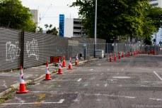 Construction cones litter the city's streets. © Violet Acevedo