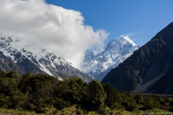 The view of Mt. Cook from the Hermitage Hotel. © Violet Acevedo