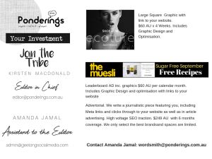 Advertise with Ponderings Online Magazine