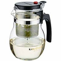 Glass Teapot with Button Controlled Infuser Tea Maker Designer Teapot 600ml