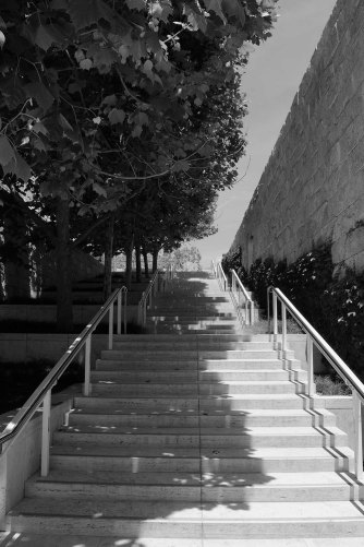 Getty Museum, California, black and white, stairs