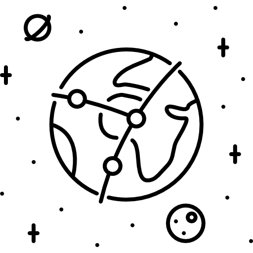 Black and White earth connection Icon