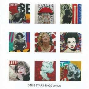 Algunas obras de la Serie Stars | 20X20 c/u - Técnica mixta sobre lienzo | Carmen Casanova | Exposición 'Glamourama' | Galería Herráiz | Madrid