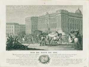 Dos de mayo ante el Palacio Real | 1832 | José Ribelles (dibujo) y Francisco Jordán (grabado) | Museo de Historia | Madrid | Madrid - España