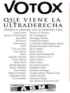 Exposición Votox. ¡Que viene la ultraderecha!   27/04/2019   ABM Confecciones   Puente de Vallecas   Madrid   Participantes