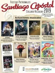 Fiestas de Santiago Apóstol 2019 | Collado Villalba | Comunidad de Madrid | 24-28/07/2019 | Cartel conciertos