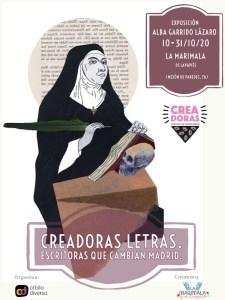 Creadoras Letras. Escritoras que cambian el mundo   Alba Garrido Lázaro   Órbita Diversa   La Marimala de Lavapiés   10-31/10/2020   Cartel