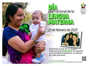 Día de la Lengua Materna 2021 | 21 de febrero | UNESCO | Cartel Asociación Universal de Esperanto