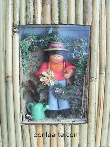 Escena en miniatura de una jardinera