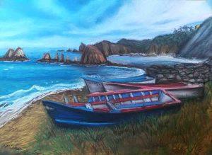 Playa Gueirua pintura pastel Clara Ortega Klartkraft