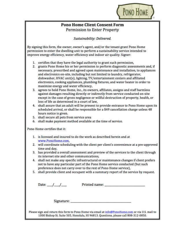 Pono Home Client Consent Form--Permission to Enter Property