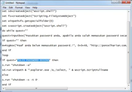 Cara Memberikan Password Flashdisk Menggunakan Notepad