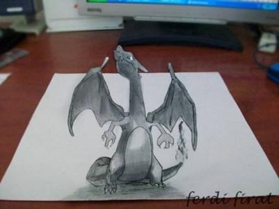 gambar 3d naga di kertas