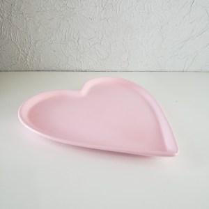 Bandeja em cerâmica coração Rosa Claro