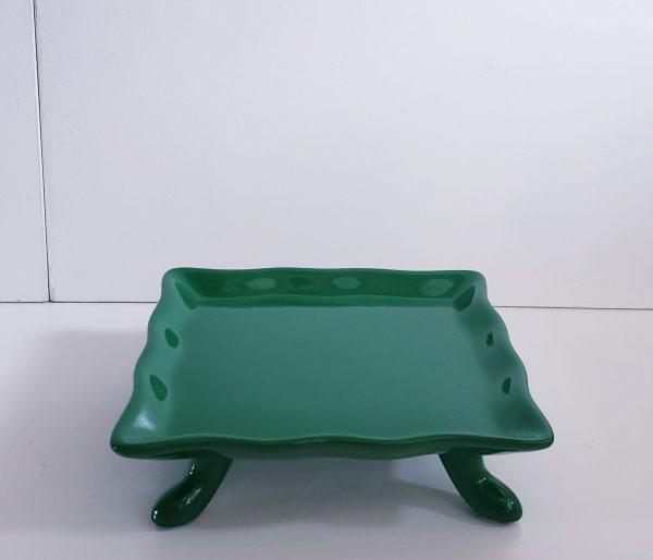 Bandeja Quadrada Babado Cerâmica Verde