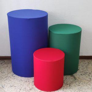 Capas para Trio mesas cilindro cores Azul Royal/Verde/Vermelho