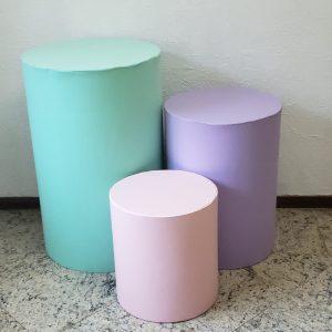 Capas para Trio mesas cilindro cores Verde/Lilas/Rosa
