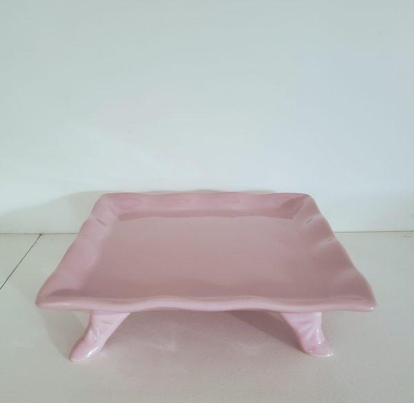 Bandeja Quadrada Babado Cerâmica Rosa Bebe