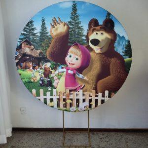 Suporte Redondo com Tecido Sublimado Masha e Urso