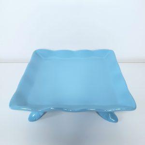 Bandeja Quadrada Babado Cerâmica Azul Celeste