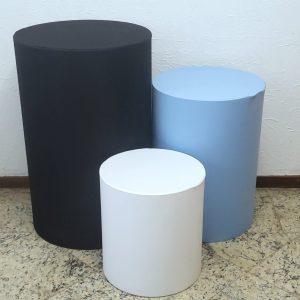 Trio mesas cilindro com capas cores Preto/Azul Claro/Branco