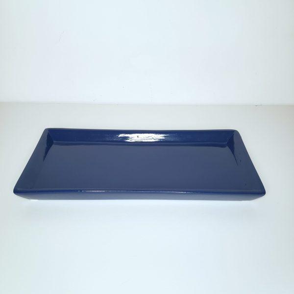 Bandeja cerâmica retangular cor Azul Royal