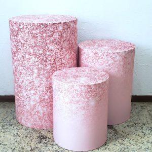 Cilindros com Capas Tecido sublimado Rose Glitter