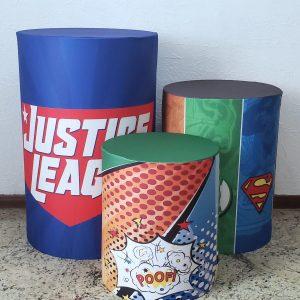 Cilindros com Capas Tecido sublimado Liga da Justiça