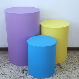 Capas para Trio mesas cilindro cores Lilás/Amarelo/Azul Turquesa