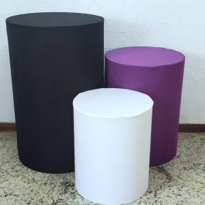 Capas para Trio mesas cilindro cor Preto/Roxo/Branco