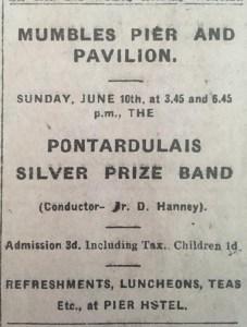 Mumbles Pier Advert, 1917