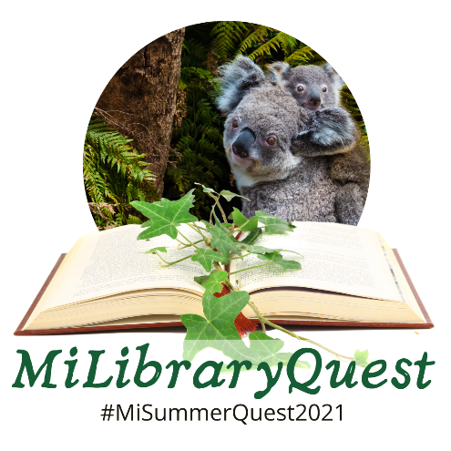 MiLibraryQuest logo with koalas, an open book, #MiLibraryQuest2021