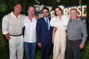 Dwayne Johnson, Sean Bailey, President, Walt Disney Studios Motion Picture Production, Jaume Collet-Serra, Emily Blunt and Content Chairman - World Premiere Of Disney's Jungle Cruise