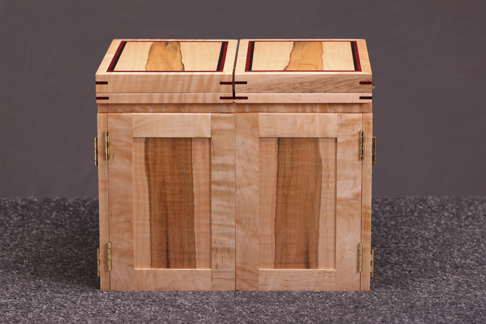 Tiger Maple Fly Tying Box   Contemporary Style Wooden Portable Fly Tying Box
