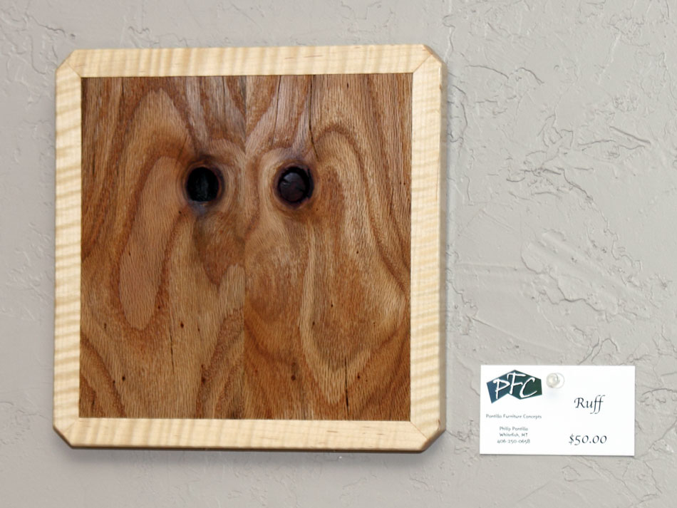Ruff - wood wall art - dog face made from book matched figured oak and maple
