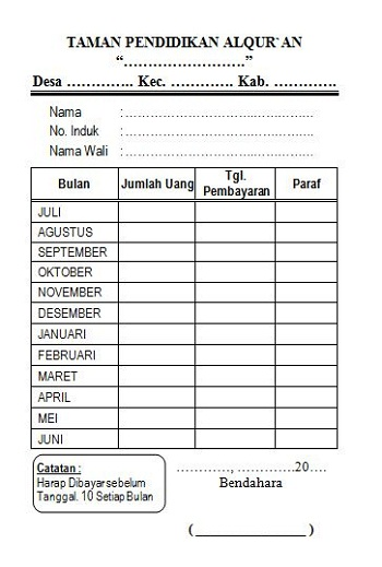 Kartu SPP TPA Kalender Masehi