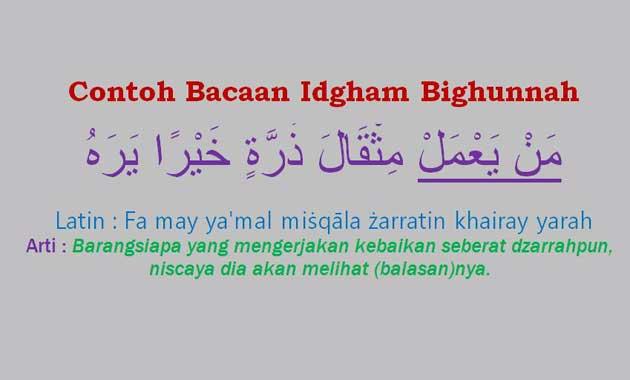 Contoh Idgham Bighunnah Dalam Ayat Surat Alquran Juz Amma Pontren Com