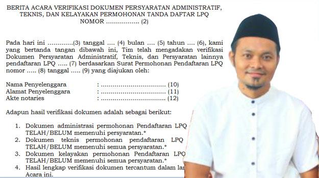 berita acara verifikasi dokumen TPQ LPQ