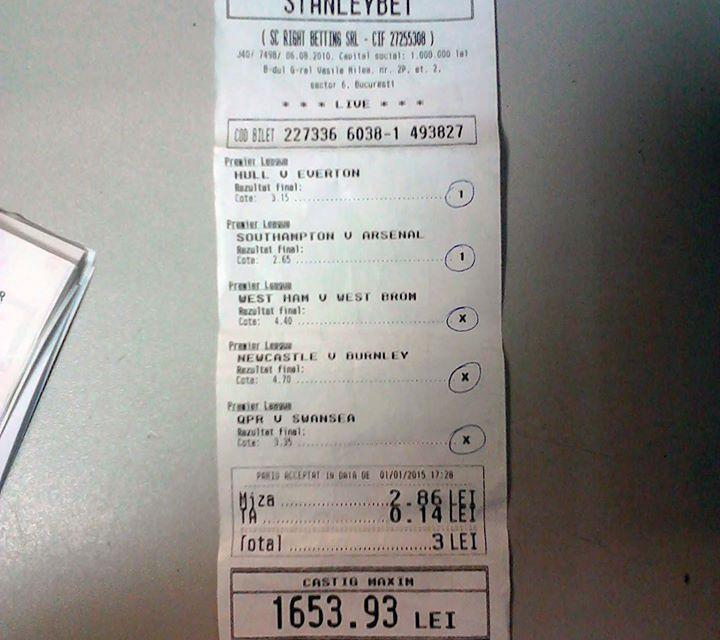 Bilete Pariuri : Un parior a dat lovitura in prima zi a anului 2015 !
