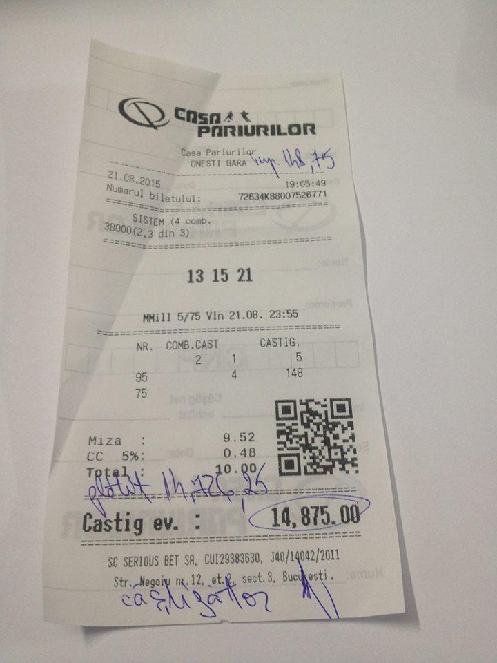 Bilete Pariuri : Inca un parior a fost norocos la Loto !