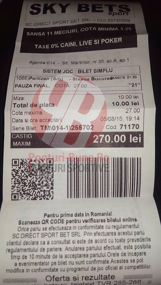 Bilete Pariuri : Pariorii au dat lovitura cu Partizan - Steaua !