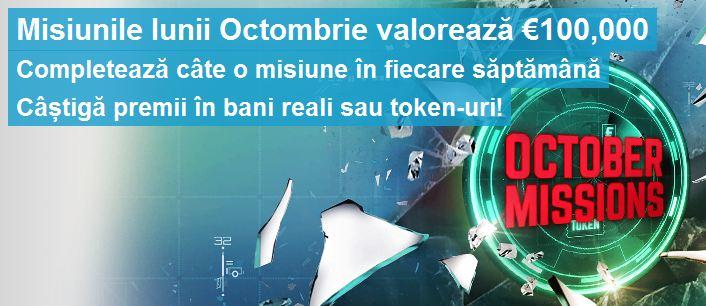 Poker Online : Misiunile lunii Octombrie Premii de 100.000 euro