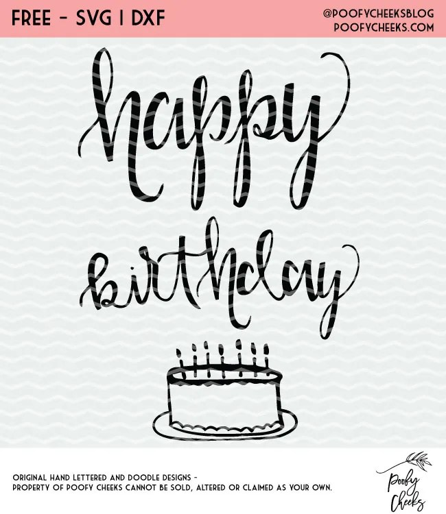 Happy Birthday free cut file. Cut file for Silhouette and Cricut cutting machines. SVG, PNG, DXF